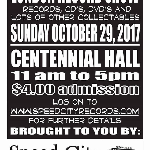 London Record Show this Sunday October 29! #vinyl #recordshow #ldnent #ldnont #speedcityrecords #vinyl #sweatpants #centennialhall